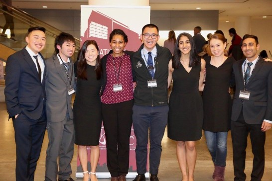 UC Davis student presenters standing together at a Harvard Conference