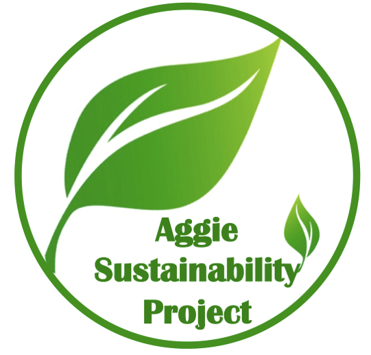 Aggie Sustainability Project circular logo containing a green leaf