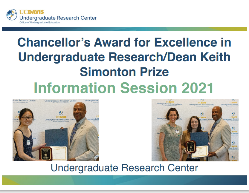 Title slide of powerpoint presentation about the Chancellor's Award for Excellence in Undergraduate Research with two photos of awardees with the Chancellor and Professor Franz