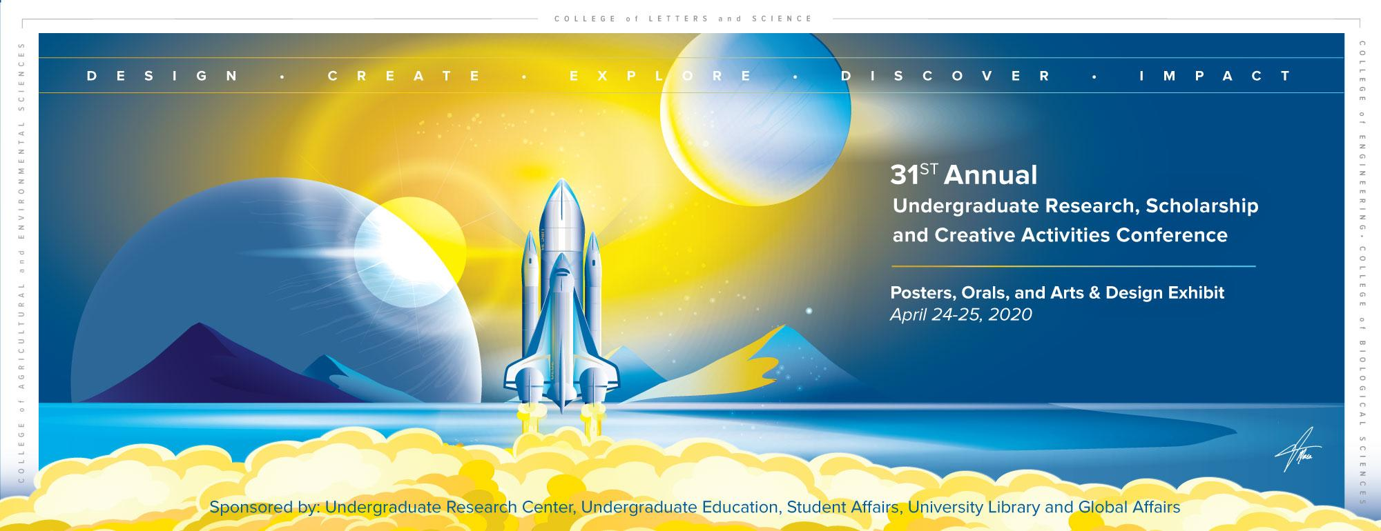 Graphic design of spaceship blacting off and planetary elements and details of URC Conference