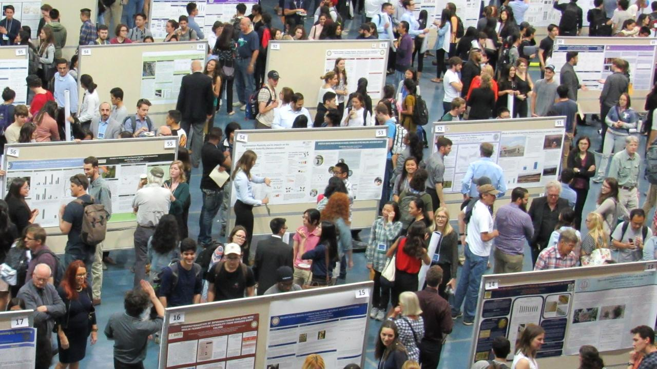 Photo from crowded poster session at URC Conference in the ARC Pavilion