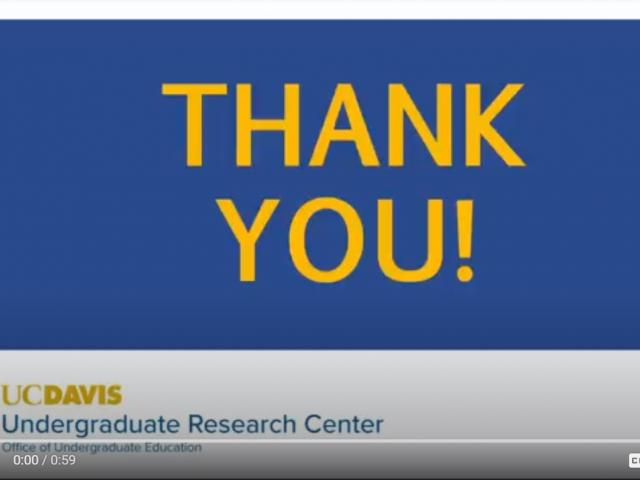 A screen shot of the thank you video showing the words THANK YOU! and the URC logo and wordmark