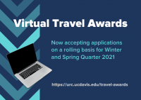 An ad for the Virtual Travel Award with a band of v shapes on the left with a picture of a laptop.