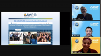 Screen shot of virtual NSF CAMP Symposium with three hosts and a kudo board on screen