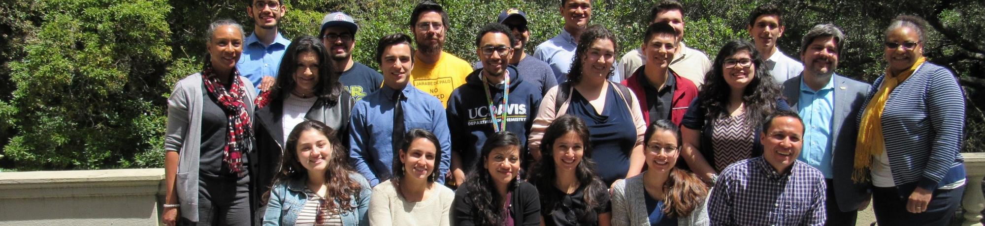 Out door group photo of UC Davis Undergraduate researchers from a field trip to Berkeley